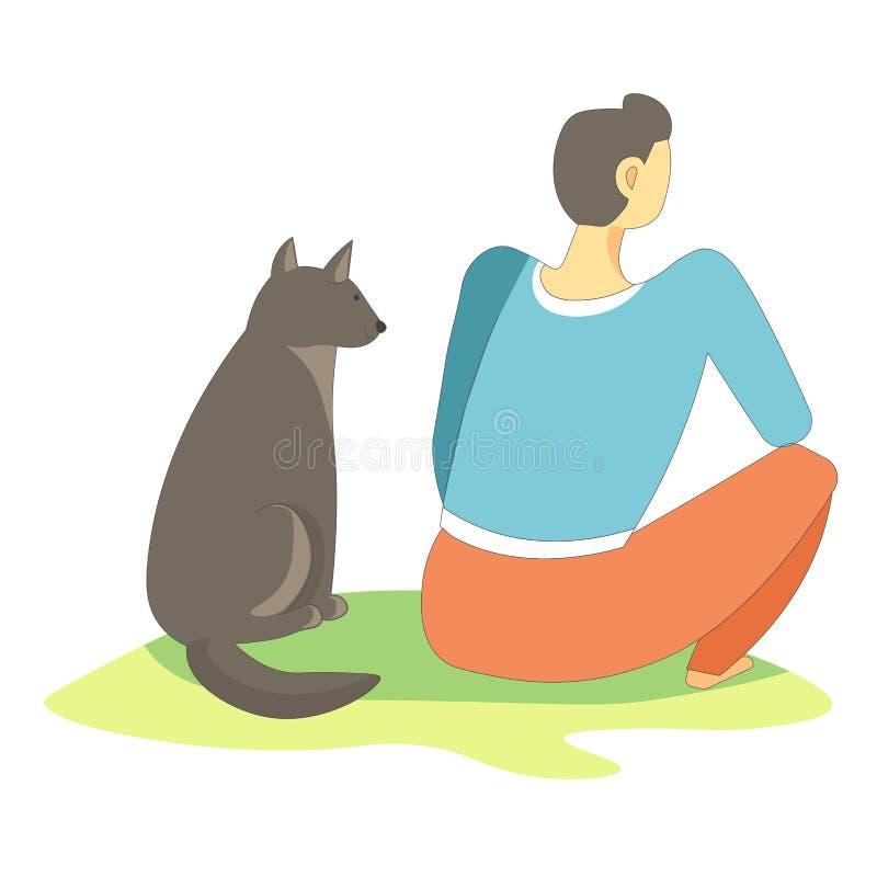 Verfolgen Sie das Haustier, das mit dem Eigentümer sitzt, der im Gedankenvektor voll ist vektor abbildung