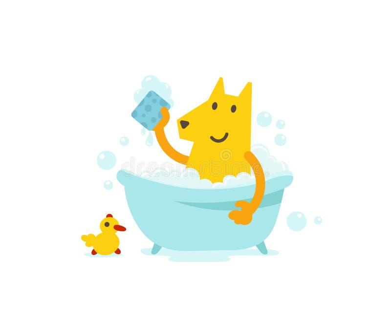 Verfolgen Sie das Pflegen Baden von Zeit Hunde- Hygiene Netter Hund, der ein Bad nimmt Der kleine Junge unzufrieden gemacht stock abbildung
