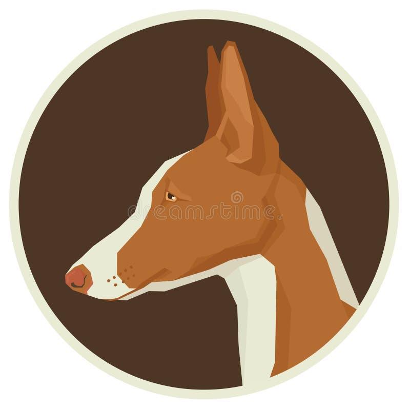 Verfolgen Sie die runde Avataraikone des Sammlung Ibizan-Jagdhund-geometrischen Stils stock abbildung
