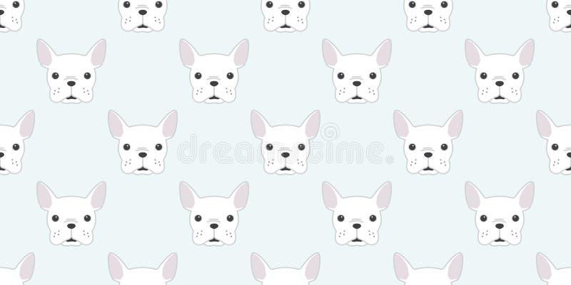 Verfolgen Sie nahtloser des Mustermopsgesichts Vektor der französischen Bulldogge Tapeten-Hintergrundweiß Kopf lokalisiertes vektor abbildung