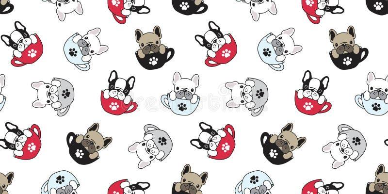 Verfolgen Sie nahtloser Schalenhintergrundwelpen-Karikaturtapete des Vektors der französischen Bulldogge des Musters Pug lokalisi stock abbildung