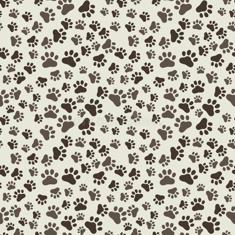Verfolgen Sie Paw Print Seamless, anilams Muster, Vektorillustration stock abbildung