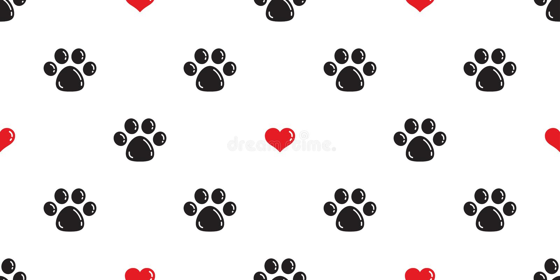 Verfolgen Sie Paw Seamless-Mustervektorherz Valentinsgruß lokalisierte Cat Paw-Abdruckkarikaturtapeten-Hintergrundillustration stock abbildung