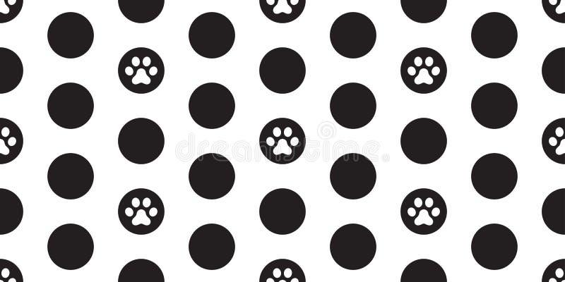 Verfolgen Sie Paw Seamless Pattern-Vektor Cat Paw-Tupfenkarikaturtapetenfliesen-Hintergrundillustration vektor abbildung