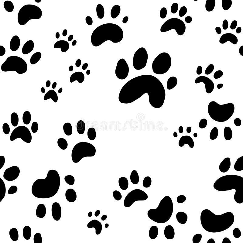 Verfolgen Sie Pfotenabdruckvektor, nahtloses Tapetenmuster von netten Hundeabdrücken lizenzfreie abbildung