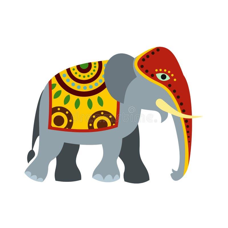 Verfraaid olifantspictogram, vlakke stijl royalty-vrije illustratie
