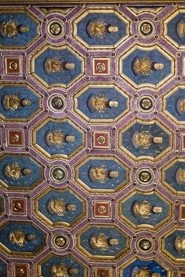 Verfraaid plafond in Hertogelijk Paleismuseum in Mantua royalty-vrije stock foto's