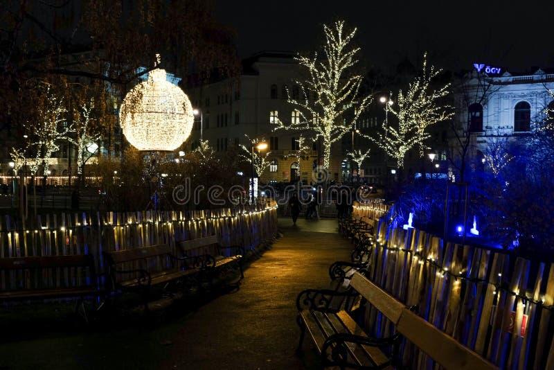 Verfraaid Rathaus-park in Kerstmistijd royalty-vrije stock fotografie