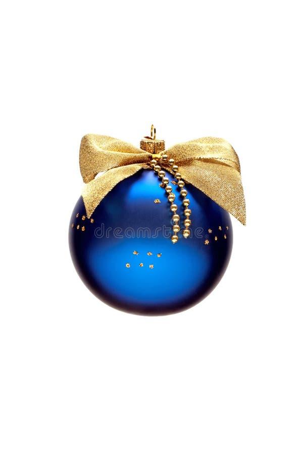 Verfraaide blauwe Kerstmisbal royalty-vrije stock afbeelding
