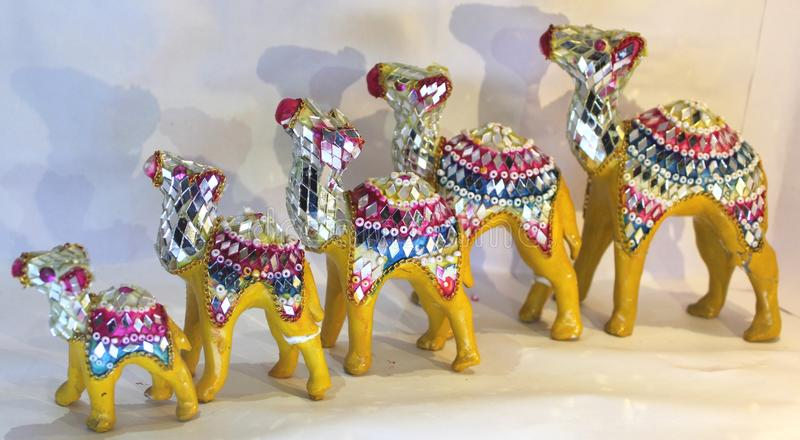 Verfraaide die kamelen voor het sierwerk worden gebruikt royalty-vrije stock foto