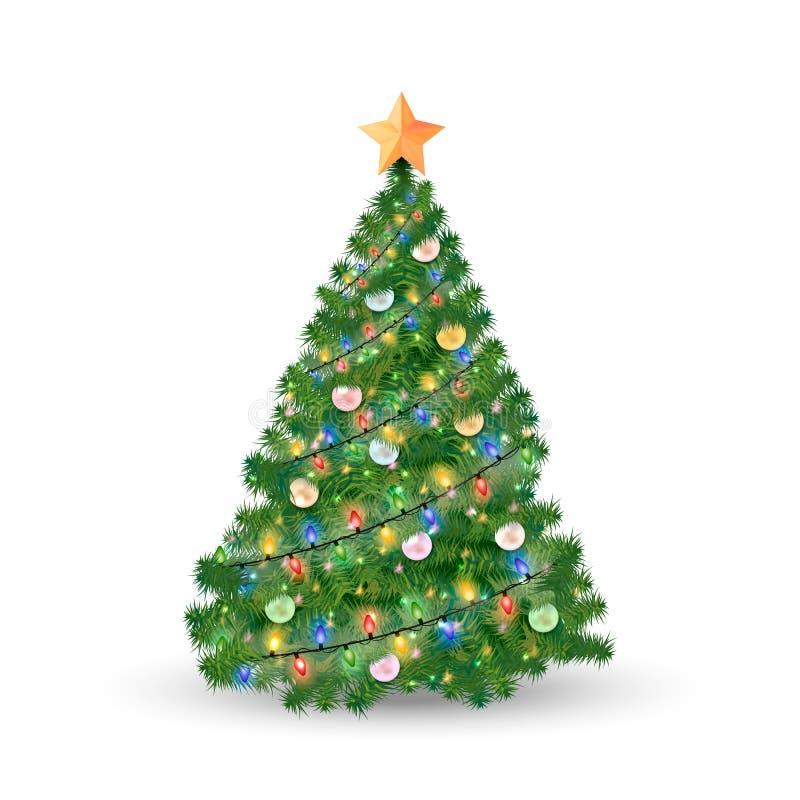 Verfraaide die Kerstboom en Kerstmisornamenten op witte achtergrond worden geïsoleerd Vector illustratie vector illustratie