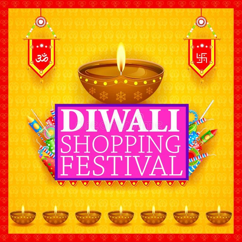 Verfraaide diya met cracker voor de Gelukkige Diwali-vakantie het winkelen achtergrond van de verkoopaanbieding royalty-vrije illustratie