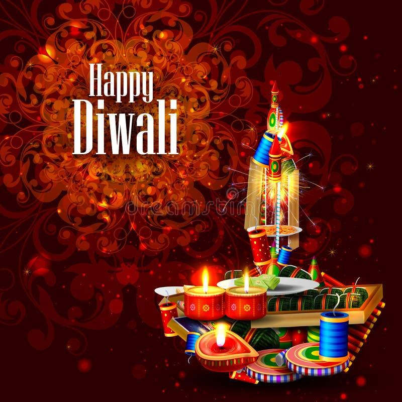 Verfraaide diya met cracker voor Gelukkige Diwali-vakantieachtergrond royalty-vrije illustratie