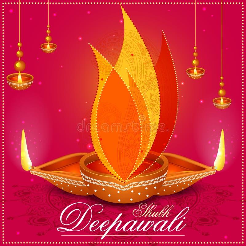 Verfraaide Diya voor de Gelukkige Diwali-viering van de festivalvakantie stock illustratie