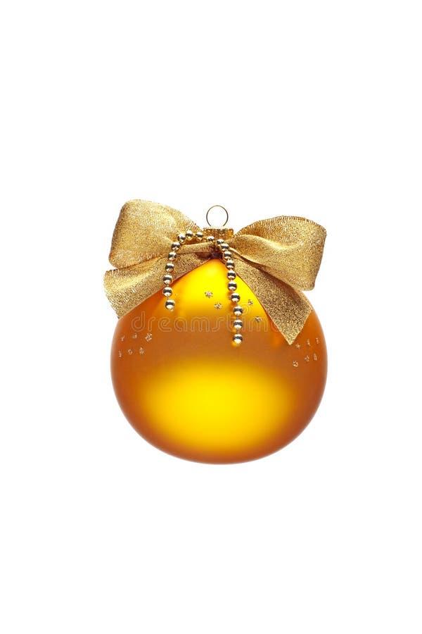 Verfraaide gele Kerstmisbal royalty-vrije stock foto