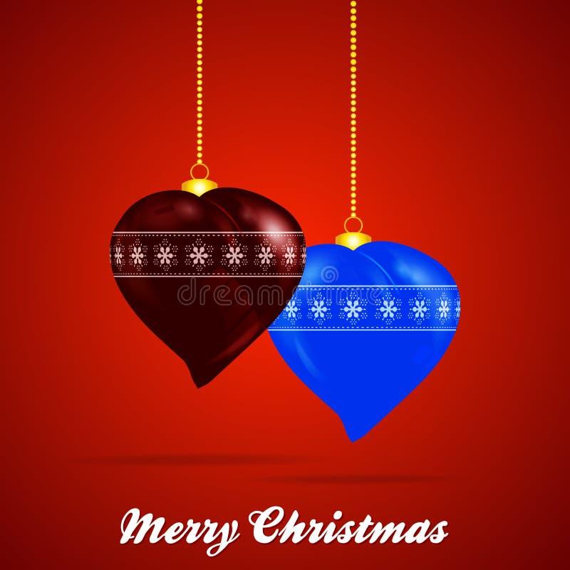 Verfraaide het hartvorm en tekst van Kerstmissnuisterijen royalty-vrije illustratie