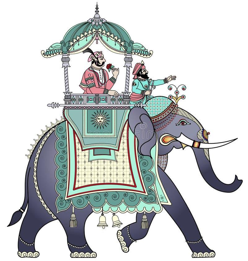 Verfraaide Indische olifant vector illustratie