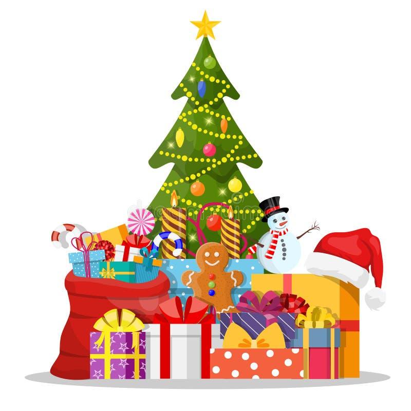 Verfraaide kerstboom en giftdozen vector illustratie