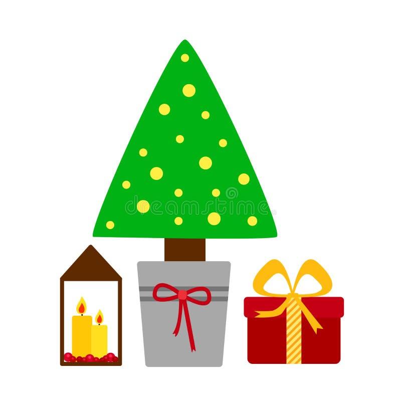 Verfraaide Kerstboom met giftdozen, kaarslichten Vrolijke Kerstmis en Gelukkig Nieuwjaar vector illustratie