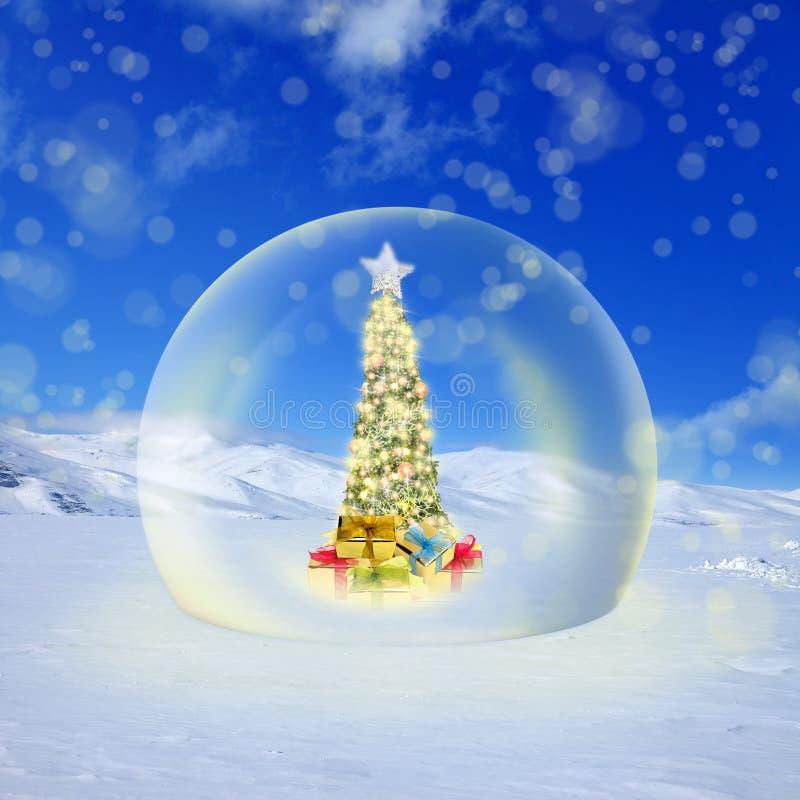 Verfraaide Kerstboom met kleurrijke lichten en ornamenten in g stock illustratie