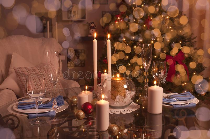 Verfraaide Kerstmislijst De wintervakantie royalty-vrije stock foto