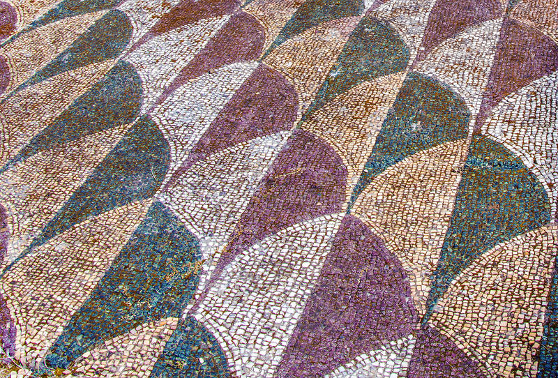 Verfraaide mozaïekvloer in de roman Baden van Caracalla Thermae in R stock afbeeldingen