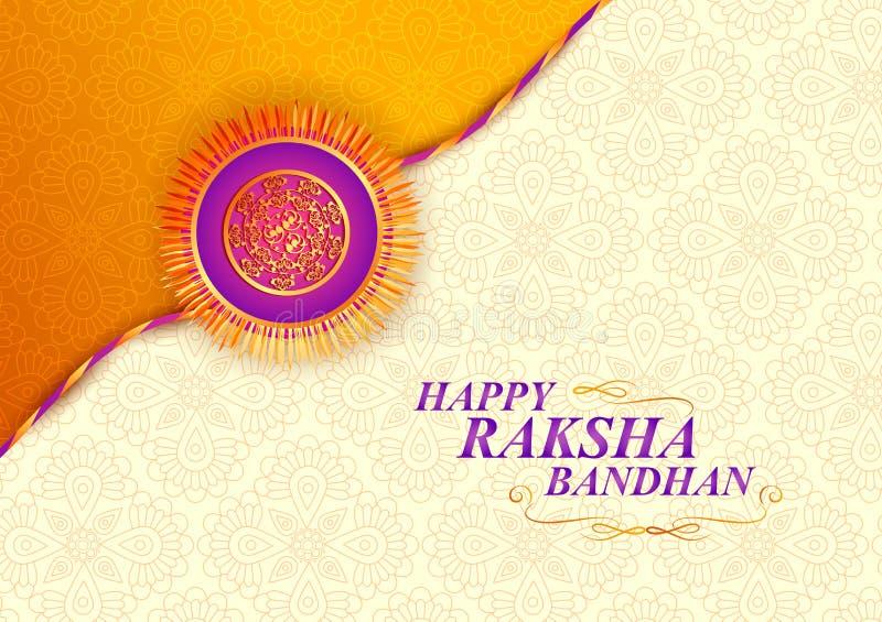 Verfraaide rakhi voor Indisch festival Raksha Bandhan vector illustratie