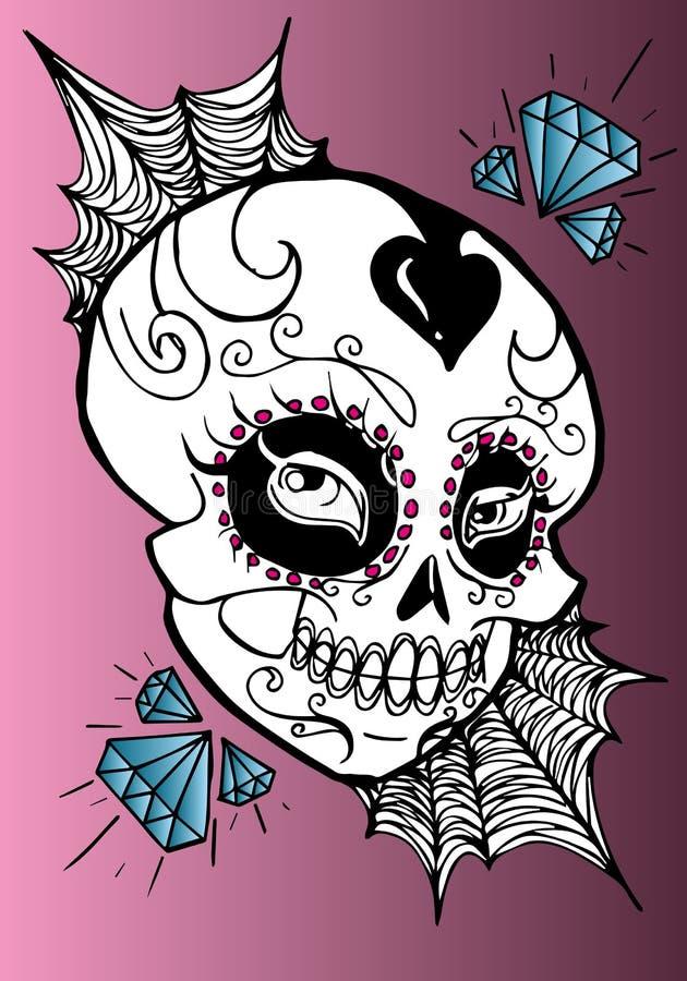 Verfraaide schedel met diamanten La Calavera Catrina vector illustratie