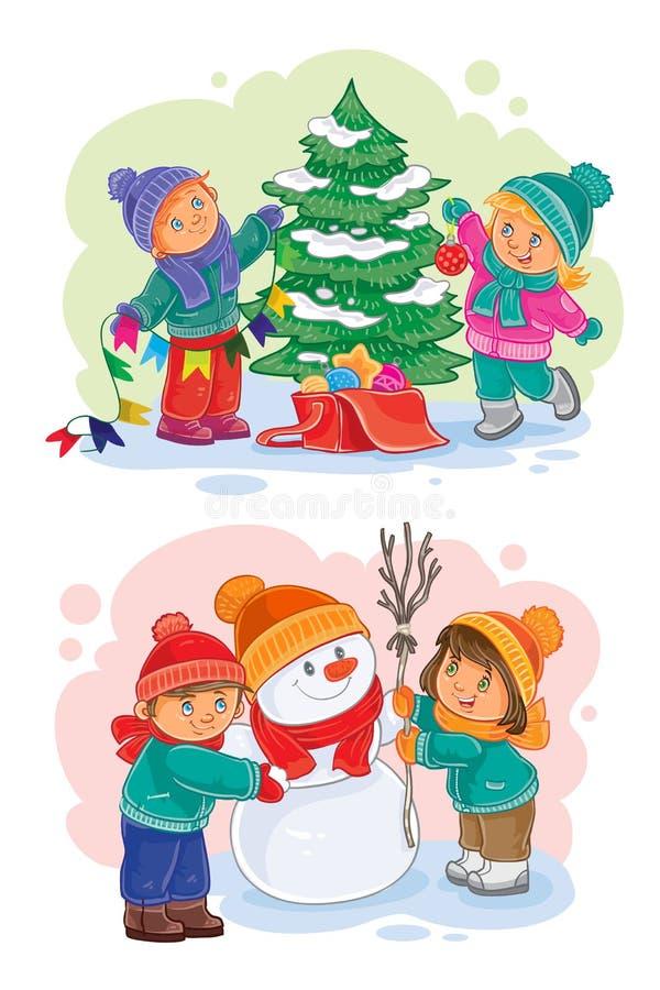 Verfraaien de pictogrammen kleine kinderen de Kerstboom, makend een sneeuwman stock illustratie