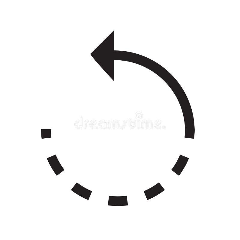 Verfris het linker vectordieteken en het symbool van het pijlpictogram op wit wordt geïsoleerd royalty-vrije illustratie