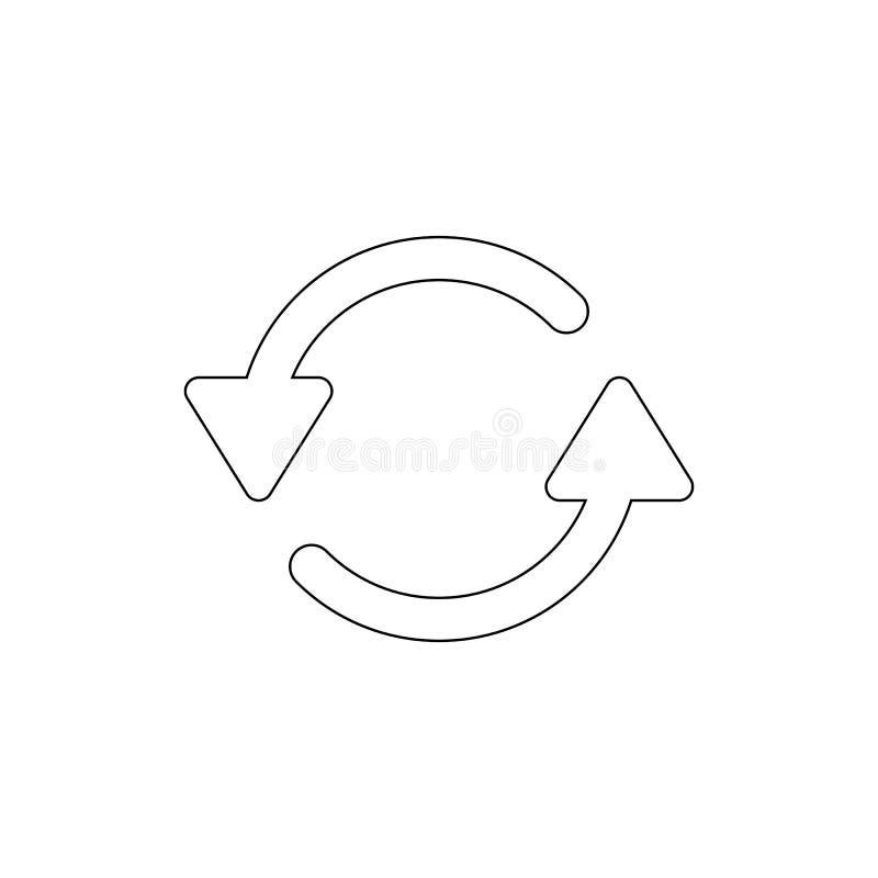 Verfris me of het herladen roteert overzichtspictogram De tekens en de symbolen kunnen voor Web, embleem, mobiele toepassing, UI, royalty-vrije illustratie