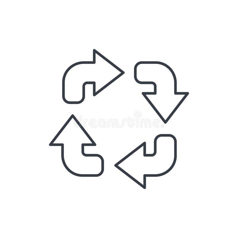 Verfris pictogram van de vier pijlen het dunne lijn Lineair vectorsymbool stock illustratie