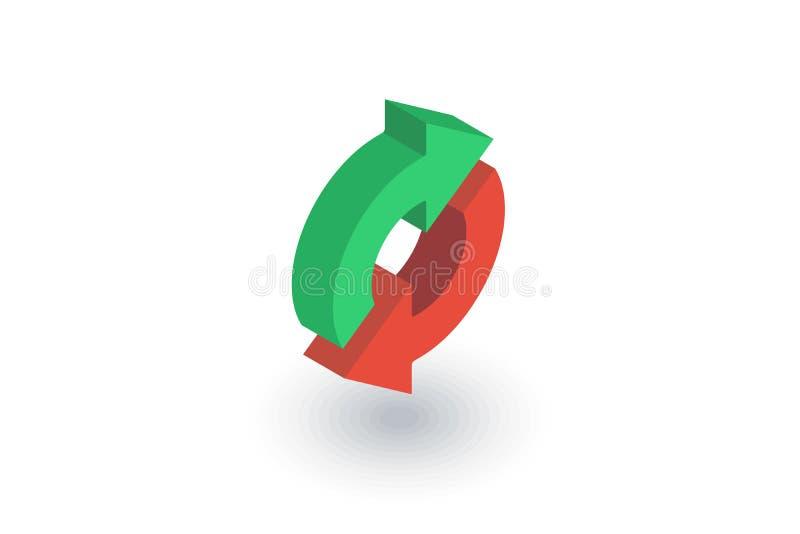 Verfris Pijlen, synchronisatie, ruil isometrisch vlak pictogram 3d vector stock illustratie
