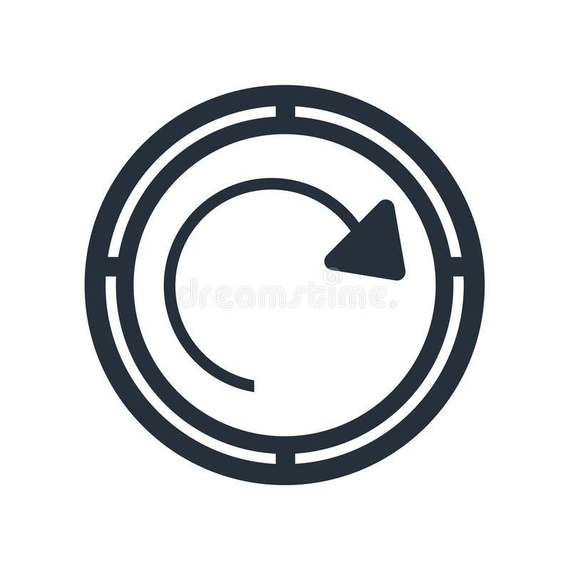 Verfris van het de knooppictogram van de paginapijl het vectordieteken en het symbool op witte achtergrond wordt geïsoleerd, verf royalty-vrije illustratie