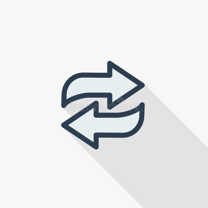Verfris vlak de kleurenpictogram van de Pijlen dun lijn Lineair vectorsymbool Kleurrijk lang schaduwontwerp stock illustratie