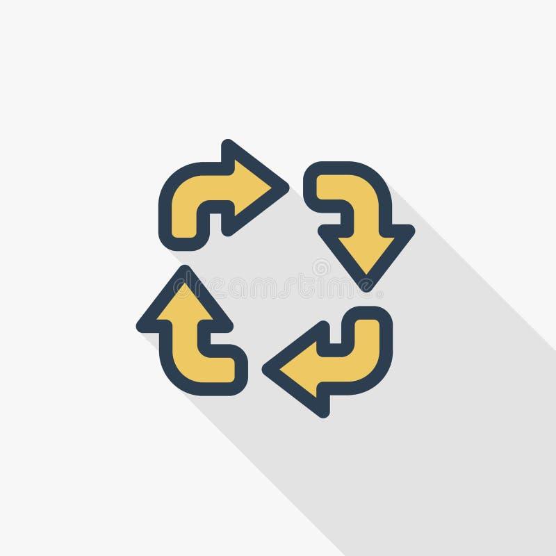 Verfris vlak de kleurenpictogram van de vier pijlen dun lijn Lineair vectorsymbool Kleurrijk lang schaduwontwerp royalty-vrije illustratie