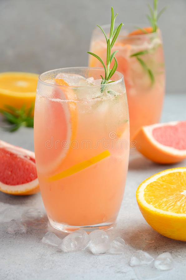 Verfrissende citrusvruchtencocktail met grapefruit, sinaasappel en rozemarijn royalty-vrije stock foto