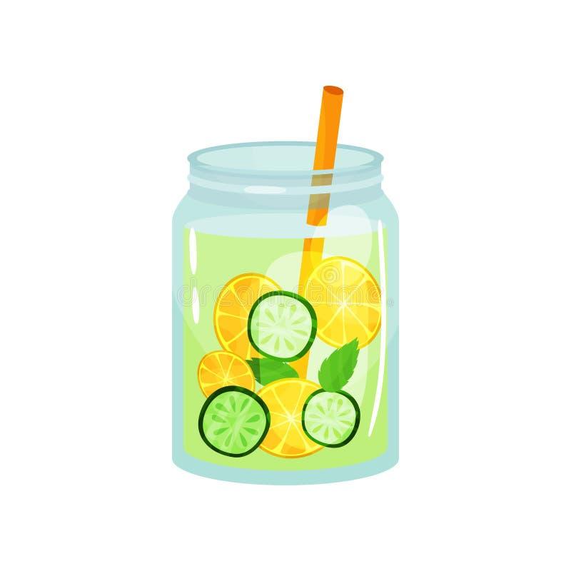 Verfrissende cocktail met groene muntbladeren, plakken van citroen en komkommer Glaskruik van organische detoxdrank met stro royalty-vrije illustratie