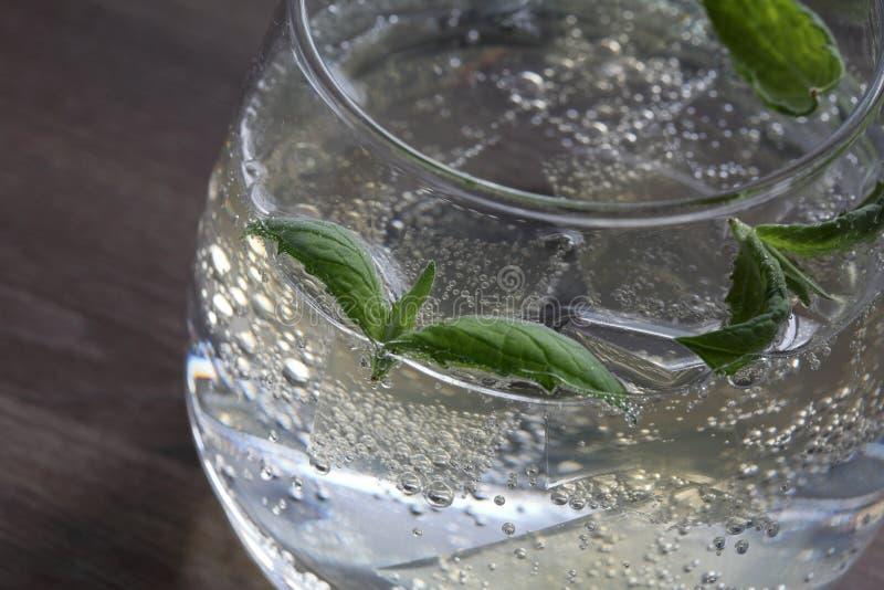 Verfrissende drank met gasbellen Nalit in een transparant glas Het legde verpletterd ijs Verfraaid met muntbladeren royalty-vrije stock afbeeldingen