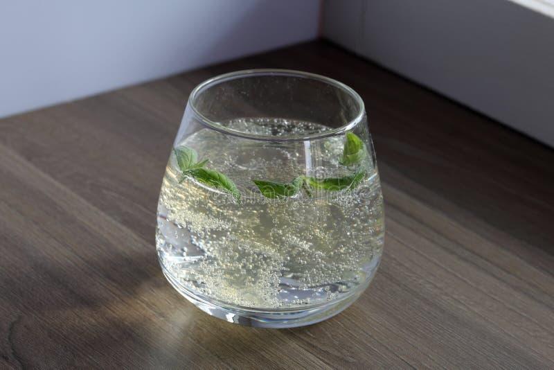 Verfrissende drank met gasbellen Nalit in een transparant glas Het legde verpletterd ijs Verfraaid met muntbladeren stock foto's