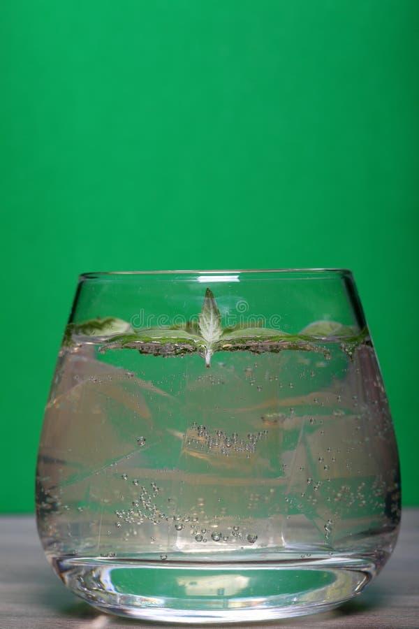 Verfrissende drank met gasbellen Nalit in een transparant glas Het legde verpletterd ijs Verfraaid met muntbladeren stock afbeeldingen