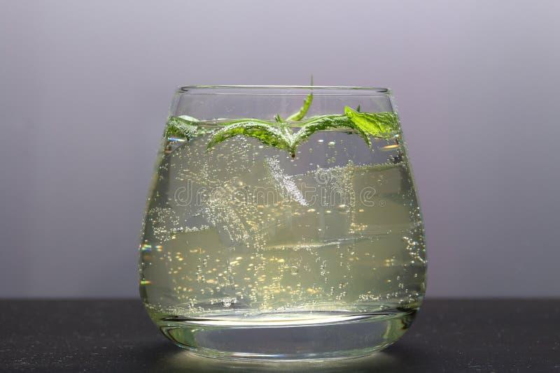 Verfrissende drank met gasbellen Nalit in een transparant glas Het legde verpletterd ijs Verfraaid met muntbladeren royalty-vrije stock fotografie