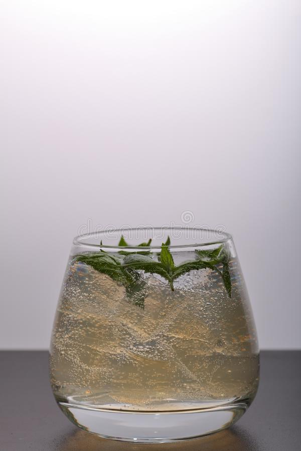 Verfrissende drank met gasbellen Nalit in een transparant glas Het legde verpletterd ijs Verfraaid met muntbladeren royalty-vrije stock afbeelding
