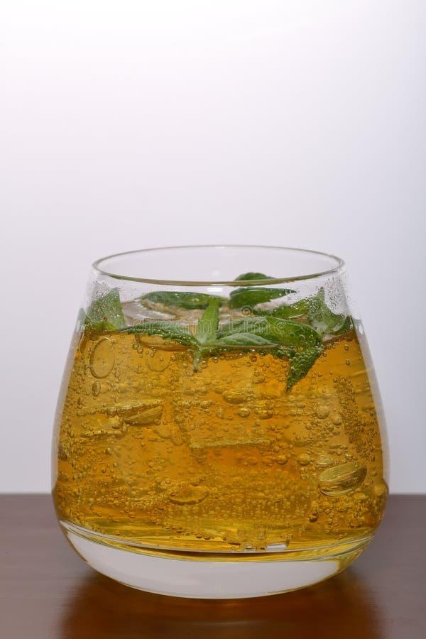 Verfrissende drank met gasbellen Nalit in een transparant glas Het legde verpletterd ijs Verfraaid met muntbladeren stock afbeelding
