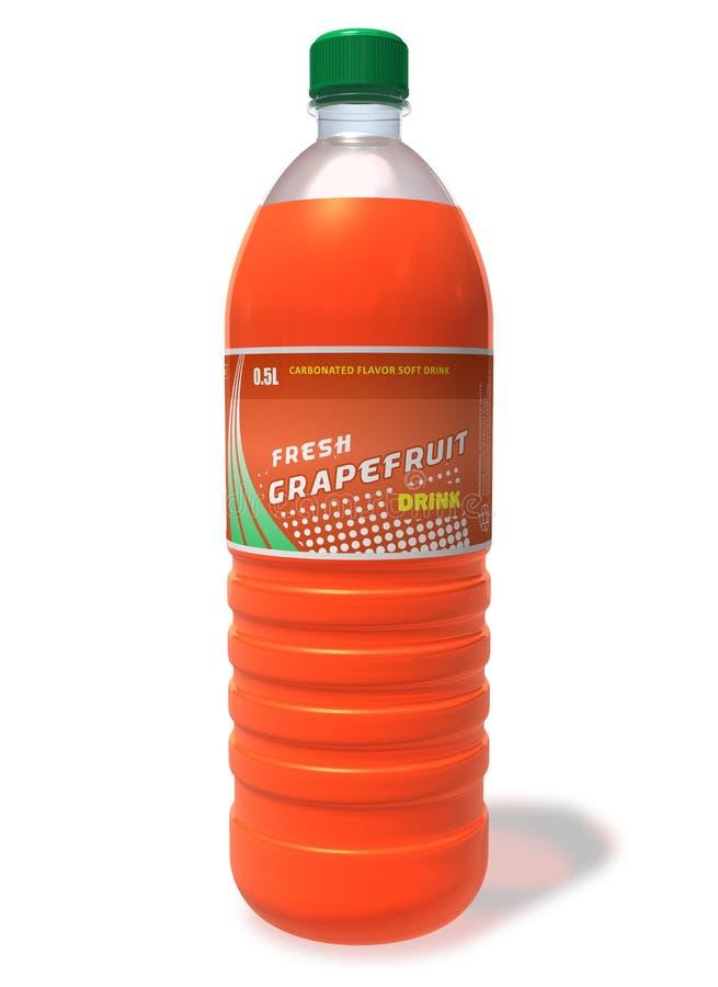 Verfrissende grapefruitdrank in plastic fles stock illustratie