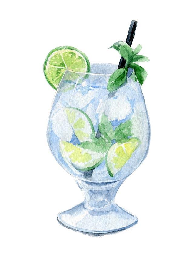 Verfrissende Mojito-cocktail met kalk en munt in een lang glas met een stro en een ijs Waterverfschets Geïsoleerde vector illustratie