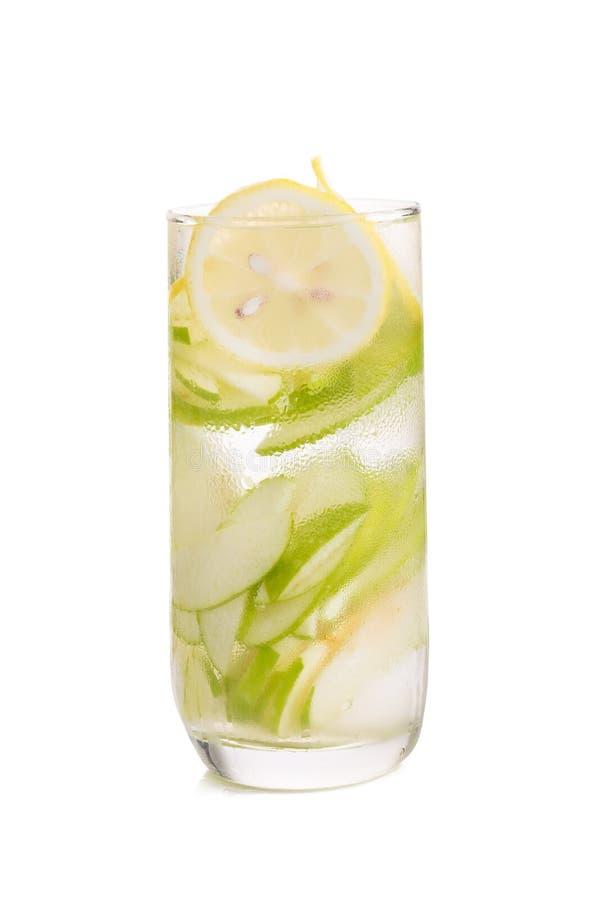 Verfrissing met citroen en groene appel royalty-vrije stock afbeeldingen