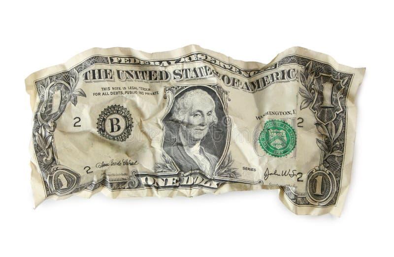 Verfrommelde dollar stock afbeeldingen