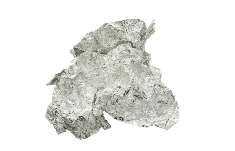 Verfrommelde geïsoleerde aluminiumfolie royalty-vrije stock foto's