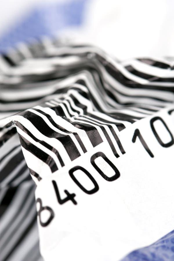 Verfrommelde streepjescode stock foto's